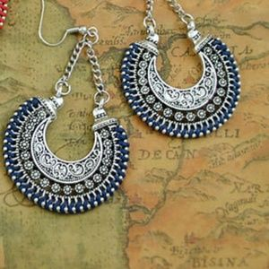 Jewelry - LASTPAIR Boho Drop Earrings Silver w/Blue Cording